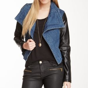 Faux leather sleeve and denim jacket